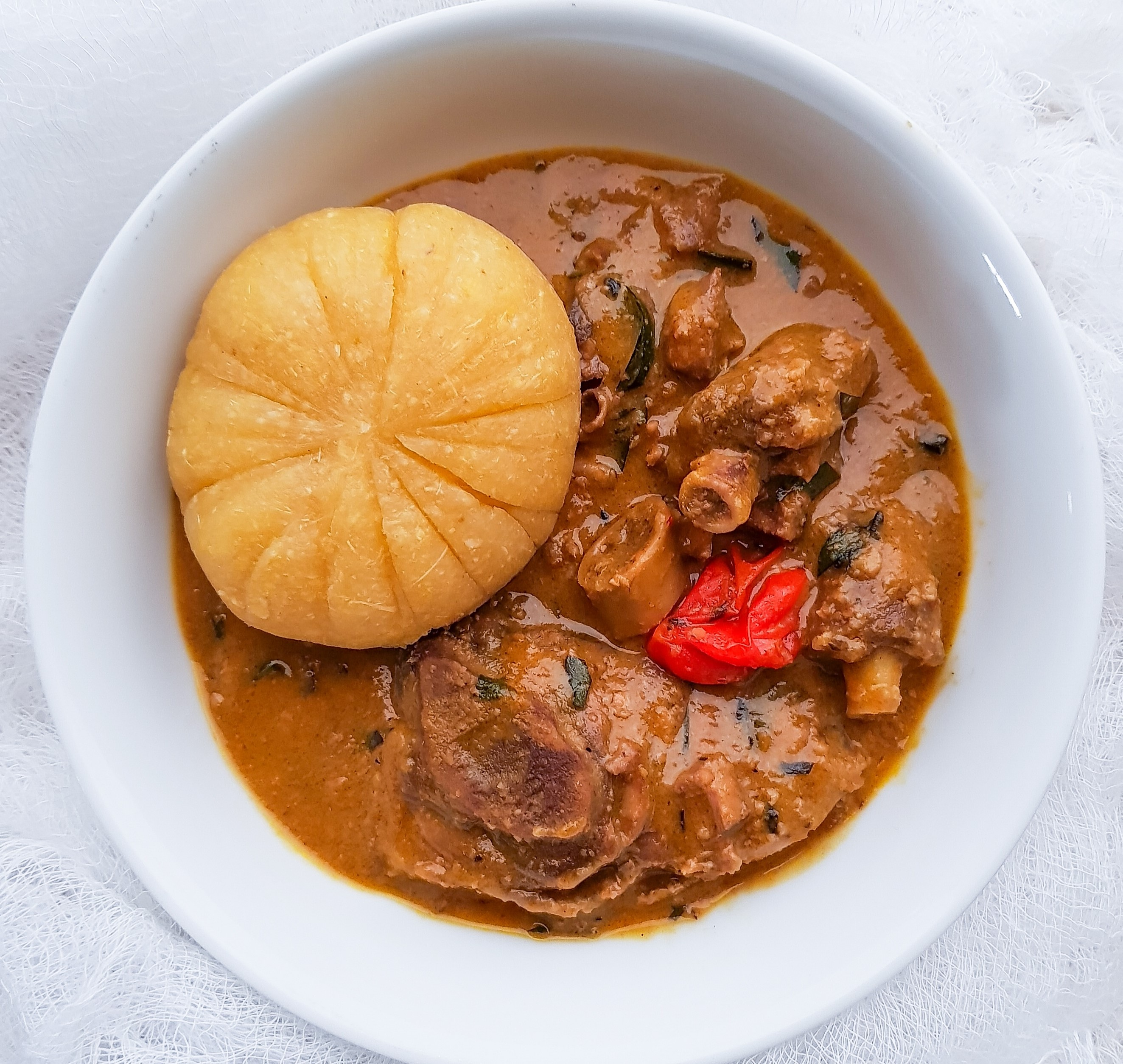 Groundnut Soup With Uziza Leaves