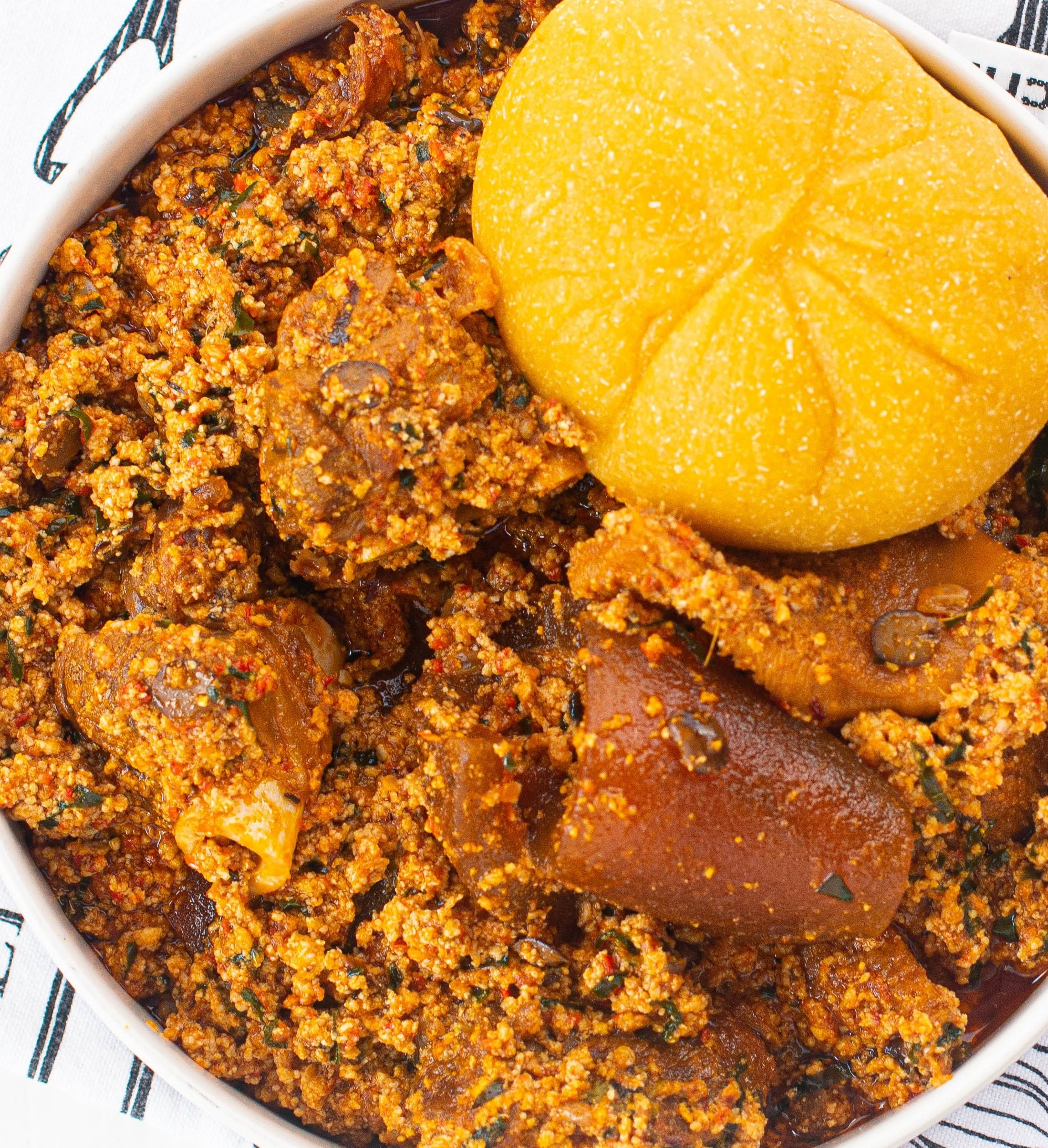 Egusi Soup with Uziza Leaf